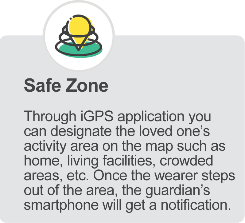 Safe Zone feature for iGPS 4G Phoenix Watch for Seniors and Assisted Living
